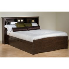 Manhattan Storage Platform Bed w/ Bookcase Headboard Prepac