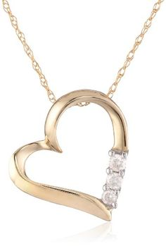 """10k Yellow Gold and Diamond Three-Stone Heart Pendant Necklace (0.1 cttw, I-J Color, I2-I3 Clarity), 18"""" Amazon Curated Collection,http://www.amazon.com/dp/B000O1L9KK/ref=cm_sw_r_pi_dp_62.stb186WA6NQ2H"""