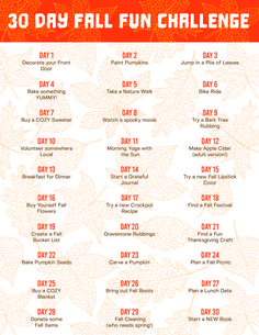 30 Day Challenge: 30 Day Fall Activity Challenge - Are you excited for the Fall Season? Here is a 30 Day Challenge for YOU! Fun Fall Activities, Self Care Activities, Family Activities, Christmas Challenge, 30 Day Challenge, Happiness Challenge, Photography Challenge, Fun Challenges, Family Game Night