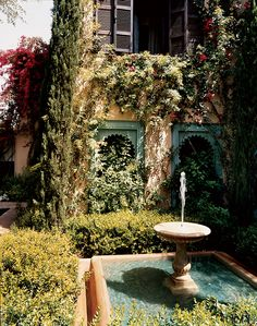 Outside the guest wing of tastemaker Marella Agnelli's house Ain Kassimou, a fountain and a basin.
