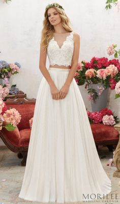 Morilee by Madeline Gardner Melina Wedding Dress. For the Bohemian Brides Stunning 2 Piece with an Illusion V Neckline and Flowy A-Line Skirt.