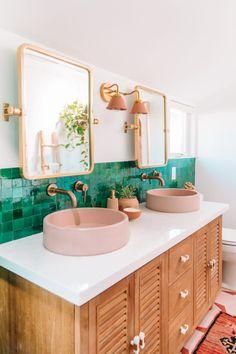 modern double pink vanity sink with green tiles bathroom decor # . - modern double pink vanity sink with green tiles bathroom decor # … # bathroom - Pink Vanity, Vanity Sink, Tile Steps, Bright Homes, Bad Inspiration, Bedroom Inspiration, Bathroom Interior, Bathroom Ideas, 1920s Bathroom