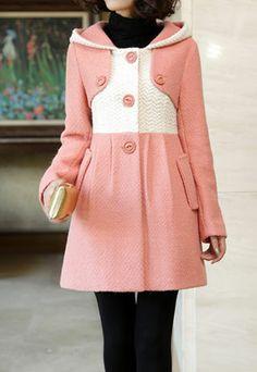 $55.99 [grzxy6600603]Long Slim Pockets Wool Splicing Single Breast Overcoat | cheershop - Clothing on ArtFire