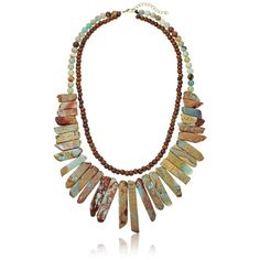 """Panacea Jasper Statement Necklace, 18"""" + 2"""" Extender (5.610 RUB) ❤ liked on Polyvore featuring jewelry, necklaces, bohemian style jewelry, natural stone jewelry, boho jewelry, statement necklaces and panacea jewelry"""