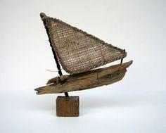 Driftwood Sailboat, Nautical Decor, Beach Finds, Driftwood Art, Fireplace Decor