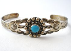 Turquoise Bracelet Sterling Silver Cuff by TheJewelryLadysStore