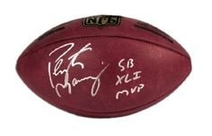 """Peyton Manning Signed Autographed Super Bowl XLI MVP Inscribed Official Leather Wilson NFL Football Denver Broncos Autograph . $284.95. Peyton Manning Signed and """"SB XLI MVP"""" Inscribed Official Leather Wilson Game NFL Football."""
