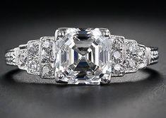 2.03 carat asscher cut diamond engagement ring.