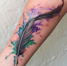 Small Peacock Watercolor Feather Tattoo - MyBodiArt.com