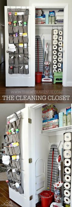 Love the hanging shoe organizer for paper towels and the over the door organizer for cleaning supplies.
