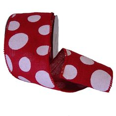 """Burlap Polka Dot Ribbon Size: 4"""" in width; 10 yards in length Material: 100% Jute Color: Red, White Wire Edge"""