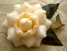 Dainty White Gardenia Shell Pin - gardenia is the most beautifully fragrant flower of all!