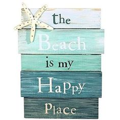 """""""The Beach is My Happy Place"""" Aquamarine Plankboard with Starfish Decorative Sign - 12-in x 9-in:Amazon:Home & Kitchen"""