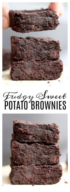Fudgy Sweet Potato Brownies (Vegan and GF! These brownies combine my two favorite foods: sweet potatoes and chocolate! They are healthy, gluten free and vegan and couldn't be easier to make. They be gobbled up by your friends Healthy Dessert Recipes, Vegan Snacks, Healthy Desserts, Gourmet Recipes, Healthy Sweet Snacks, Healthy Eating, Cold Desserts, Diabetic Desserts, Easy Recipes