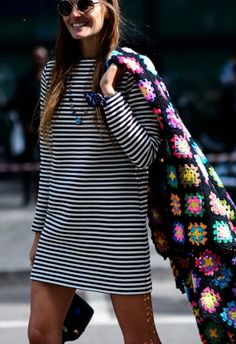 Off set your regular stripes with a colorful accessory.