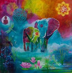 The Elephant's Sacred Garden - Susan Farrell Art Elephant Artwork, Elephant Pictures, Elephant Love, Indian Elephant Art, Elephant Paintings, Fantasy Kunst, Fantasy Art, Elefante Hindu, Sacred Garden