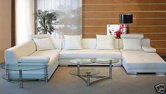 Italian Leather Living Room Sectional  Sofa White