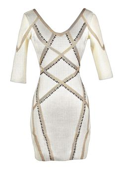 Embellished Edge Bodycon Dress in Ivory