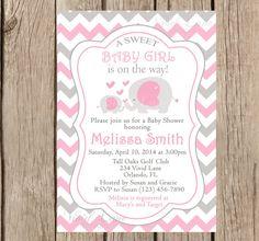 Elephants Baby Shower Invitation, Printable, Girl Baby Shower, Pink and Grey Baby Shower, Chevron, Mom and baby Elephant, Printable - 213