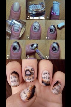 Burnt newspaper nail idea. Unique and in my opinion, very cute!