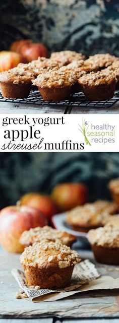 These Greek Yogurt Apple Streusel Muffins are a nutritious back-to-school snack. Each one is filled with natural whole grains and come in at 217 calories and 5 grams of protein!