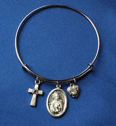 St Catherine of Sienna Religious Saint Medal Wire Bangle Bracelet