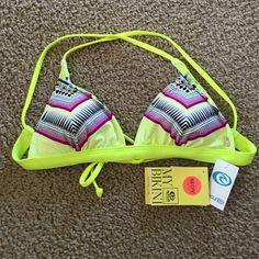 NWT rip curl bikini top NWT rip curl mystic tribe cross back bikini top, removeable cups, neon colors, good support Rip curl Swim Bikinis