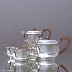 Elegantes Art Déco: Teeservice und Kaffeeservice, plated, Teekanne, versilbert, tea set, Hamilton & Laidlaw, Glasgow