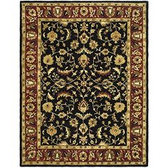 Safavieh Heritage Collection HG953A Handmade Traditional Oriental Black and Red Wool Area Rug (11' x 17')