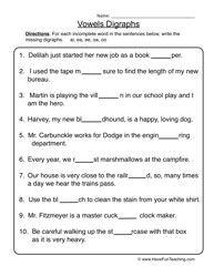 Vowel Digraphs Worksheet 1 Teacher S Guide Pinterest