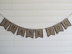 Rustic Burlap Thank You Wedding Banner Shown by occasionsbysarah