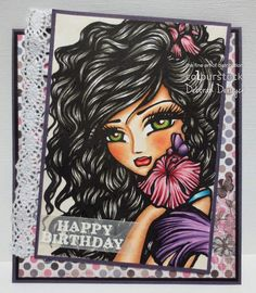 Card for Copic Europa featuring a digital stamp from Hannah Lynn arts. Designed by Deborah Deruyck