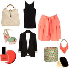 Mint and Coral, created by tpack on Polyvore