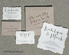 Rustic Calligraphy Wedding Invitation Set Sample by TigerLilyInvitations on Etsy https://www.etsy.com/listing/210878660/rustic-calligraphy-wedding-invitation