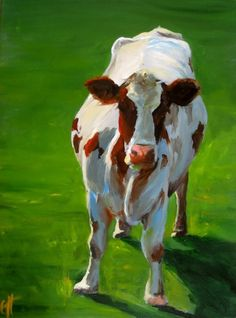 love all of ArtPaperGarden's paintings on etsy. i think a cow painting would look so cute in my living area.