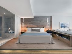 Unique wooden headboard creates a lovely focal point