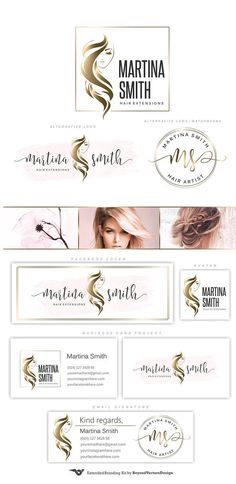 Hair Extensions Logo Gold Hairdresser logo Hair salon logo