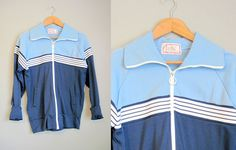 Vintage Track Jacket Mens Blue Stripe 1970s by InTheHammockVintage, $20.00