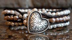 Freshwater Pearl Sweetheart Cuff Bracelet by Runwraps on Etsy, $68.00