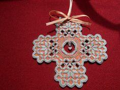 Tangerine Hardanger Christmas Ornament with Crystal Drop Charm | eBay
