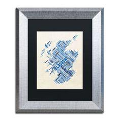 """Trademark Art """"Scotland Text Map 3"""" by Michael Tompsett Framed Graphic Art Size: 14"""" H x 11"""" W x 0.5"""" D"""