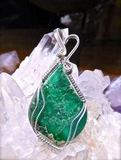 Wire Wrapped LUCIN VARISCITE Pendant in Argentium 935 Silver Healing Gemstone Variscite Wire Wrap Variscite Necklace Variscite Jewelry by CrawfordStones on Etsy