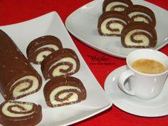 Rulada de biscuiti cu crema de unt este pe cat de simplu de preparat pe atat de… Unt, Waffles, Food And Drink, Dishes, Cooking, Breakfast, Desserts, Cake Rolls, German