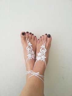 LUX Wedding White  Barefoot Sandals,Wedding Gloves,Wedding Shoes , Victorian Lace, beach wedding