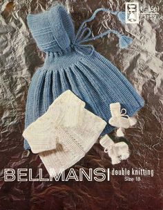 Vintage Baby Knitting Pattern pdf of format - Bellmans 1159 - DK cape and Matinee & Bootees Siz Baby Clothes Patterns, Coat Patterns, Baby Knitting Patterns, Baby Patterns, Vintage Patterns, Crochet Patterns, Knitting Wool, Vintage Knitting, Double Knitting