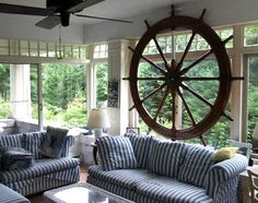 Extreme nautical decor. Giant ship wheel in front of window. Via FB: https://www.facebook.com/128847517174708/photos/a.392947330764724.87051.128847517174708/439621509430639/?type=3&theater