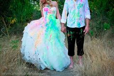 great idea for ur one year anniversay get the whole bridal party together and distroy the dresses. can also do it with mud.