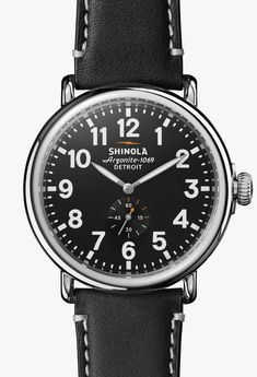 38b53344fcc Men s Watch - The Runwell 47mm Black Dial with Black Leather Strap