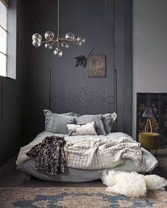 Dark bedroom wall color with vintage headboard and modern light fixture and Dark Bedroom Walls, Bedroom Wall Colors, Gray Bedroom, Trendy Bedroom, Home Decor Bedroom, Bedroom Ideas, Bedroom Beach, Bedroom Girls, Dark Walls