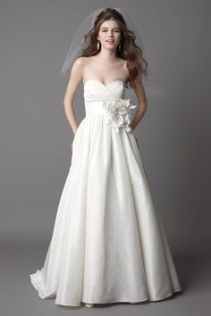 Pretty ball gown empire waist taffeta wedding dress